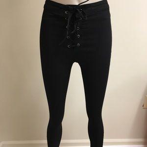 Black lace up super skinny jeans